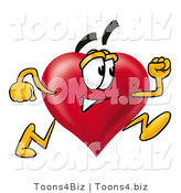 Illustration of a Cartoon Love Heart Mascot Running by Toons4Biz