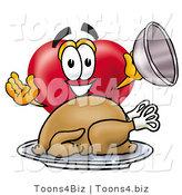 Illustration of a Cartoon Love Heart Mascot Serving a Thanksgiving Turkey on a Platter by Toons4Biz