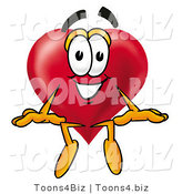 Illustration of a Cartoon Love Heart Mascot Sitting by Toons4Biz