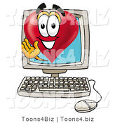 Illustration of a Cartoon Love Heart Mascot Waving from Inside a Computer Screen by Toons4Biz
