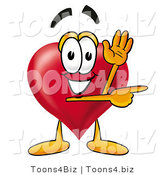 Illustration of a Cartoon Love Heart Mascot Waving Hello While Pointing to the Side by Toons4Biz