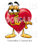 Illustration of a Cartoon Love Heart Mascot Whispering and Gossiping by Toons4Biz