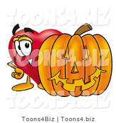 Illustration of a Cartoon Love Heart Mascot with a Carved Halloween Pumpkin by Toons4Biz