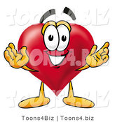 Illustration of a Cartoon Love Heart Mascot with Welcoming Open Arms by Toons4Biz