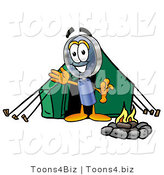 Illustration of a Cartoon Magnifying Glass Mascot Camping with a Tent and Fire by Toons4Biz
