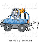 Illustration of a Cartoon Magnifying Glass Mascot Driving a Blue Car and Waving by Toons4Biz