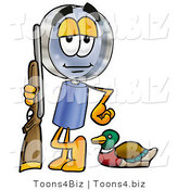 Illustration of a Cartoon Magnifying Glass Mascot Duck Hunting, Standing with a Rifle and Duck by Toons4Biz