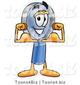 Illustration of a Cartoon Magnifying Glass Mascot Flexing His Arm Muscles by Toons4Biz