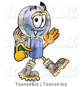 Illustration of a Cartoon Magnifying Glass Mascot Hiking and Carrying a Backpack by Toons4Biz