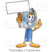Illustration of a Cartoon Magnifying Glass Mascot Holding a Blank Sign by Toons4Biz