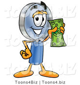 Illustration of a Cartoon Magnifying Glass Mascot Holding a Dollar Bill by Toons4Biz