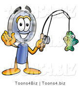 Illustration of a Cartoon Magnifying Glass Mascot Holding a Fish on a Fishing Pole by Toons4Biz
