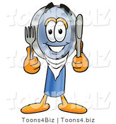 Illustration of a Cartoon Magnifying Glass Mascot Holding a Knife and Fork by Toons4Biz