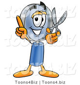 Illustration of a Cartoon Magnifying Glass Mascot Holding a Pair of Scissors by Toons4Biz