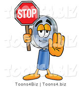 Illustration of a Cartoon Magnifying Glass Mascot Holding a Stop Sign by Toons4Biz