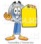 Illustration of a Cartoon Magnifying Glass Mascot Holding a Yellow Sales Price Tag by Toons4Biz