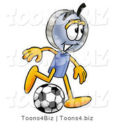Illustration of a Cartoon Magnifying Glass Mascot Kicking a Soccer Ball by Toons4Biz