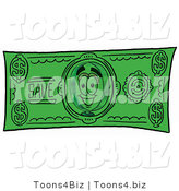 Illustration of a Cartoon Magnifying Glass Mascot on a Dollar Bill by Toons4Biz