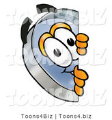 Illustration of a Cartoon Magnifying Glass Mascot Peeking Around a Corner by Toons4Biz
