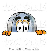 Illustration of a Cartoon Magnifying Glass Mascot Peeking over a Surface by Toons4Biz
