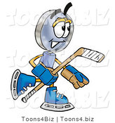 Illustration of a Cartoon Magnifying Glass Mascot Playing Ice Hockey by Toons4Biz