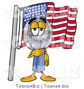 Illustration of a Cartoon Magnifying Glass Mascot Pledging Allegiance to an American Flag by Toons4Biz