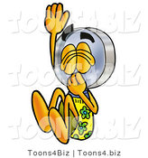 Illustration of a Cartoon Magnifying Glass Mascot Plugging His Nose While Jumping into Water by Toons4Biz