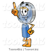 Illustration of a Cartoon Magnifying Glass Mascot Pointing Upwards by Toons4Biz