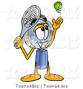 Illustration of a Cartoon Magnifying Glass Mascot Preparing to Hit a Tennis Ball by Toons4Biz