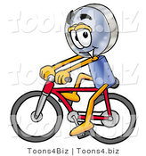 Illustration of a Cartoon Magnifying Glass Mascot Riding a Bicycle by Toons4Biz