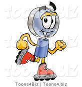 Illustration of a Cartoon Magnifying Glass Mascot Roller Blading on Inline Skates by Toons4Biz