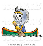 Illustration of a Cartoon Magnifying Glass Mascot Rowing a Boat by Toons4Biz