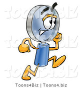 Illustration of a Cartoon Magnifying Glass Mascot Running by Toons4Biz