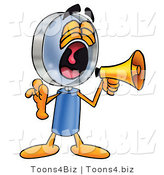 Illustration of a Cartoon Magnifying Glass Mascot Screaming into a Megaphone by Toons4Biz