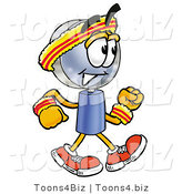 Illustration of a Cartoon Magnifying Glass Mascot Speed Walking or Jogging by Toons4Biz