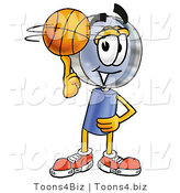 Illustration of a Cartoon Magnifying Glass Mascot Spinning a Basketball on His Finger by Toons4Biz