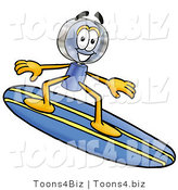 Illustration of a Cartoon Magnifying Glass Mascot Surfing on a Blue and Yellow Surfboard by Toons4Biz