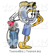Illustration of a Cartoon Magnifying Glass Mascot Swinging His Golf Club While Golfing by Toons4Biz