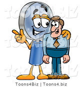 Illustration of a Cartoon Magnifying Glass Mascot Talking to a Business Man by Toons4Biz