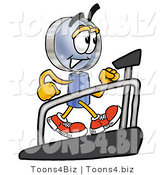 Illustration of a Cartoon Magnifying Glass Mascot Walking on a Treadmill in a Fitness Gym by Toons4Biz