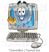 Illustration of a Cartoon Magnifying Glass Mascot Waving from Inside a Computer Screen by Toons4Biz