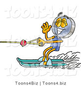 Illustration of a Cartoon Magnifying Glass Mascot Waving While Water Skiing by Toons4Biz