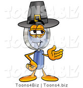 Illustration of a Cartoon Magnifying Glass Mascot Wearing a Pilgrim Hat on Thanksgiving by Toons4Biz
