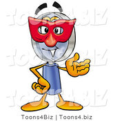 Illustration of a Cartoon Magnifying Glass Mascot Wearing a Red Mask over His Face by Toons4Biz