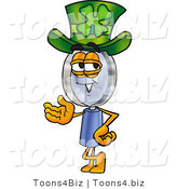 Illustration of a Cartoon Magnifying Glass Mascot Wearing a Saint Patricks Day Hat with a Clover on It by Toons4Biz