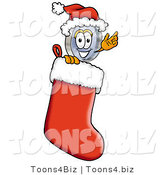 Illustration of a Cartoon Magnifying Glass Mascot Wearing a Santa Hat Inside a Red Christmas Stocking by Toons4Biz