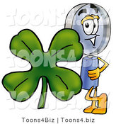 Illustration of a Cartoon Magnifying Glass Mascot with a Green Four Leaf Clover on St Paddy's or St Patricks Day by Toons4Biz
