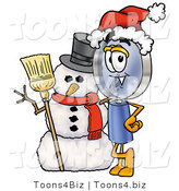Illustration of a Cartoon Magnifying Glass Mascot with a Snowman on Christmas by Toons4Biz