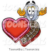 Illustration of a Cartoon Magnifying Glass Mascot with an Open Box of Valentines Day Chocolate Candies by Toons4Biz