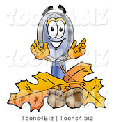 Illustration of a Cartoon Magnifying Glass Mascot with Autumn Leaves and Acorns in the Fall by Toons4Biz